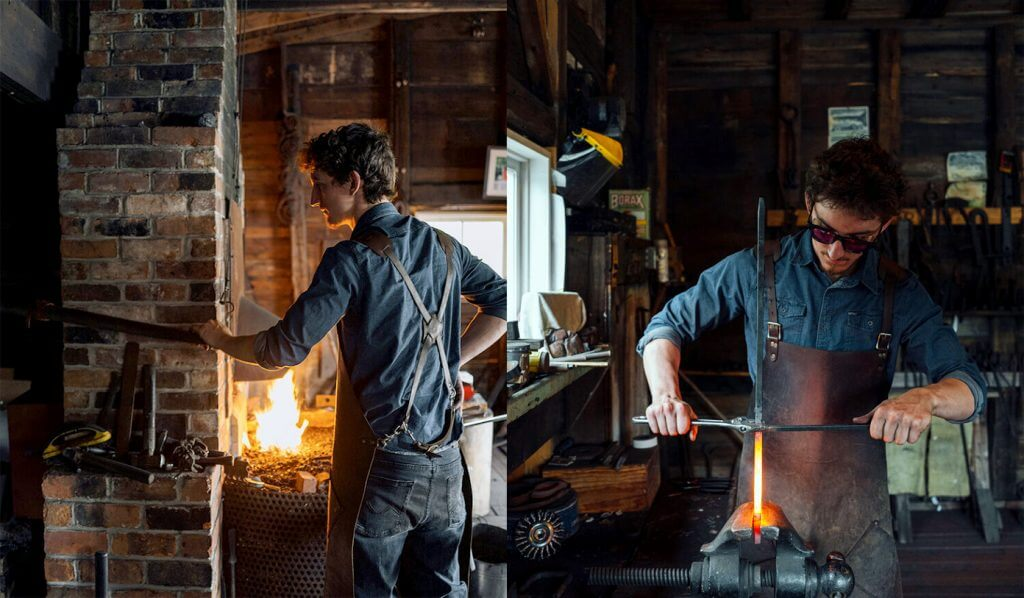 Side-by-side photos of a blacksmith working in a historic forge