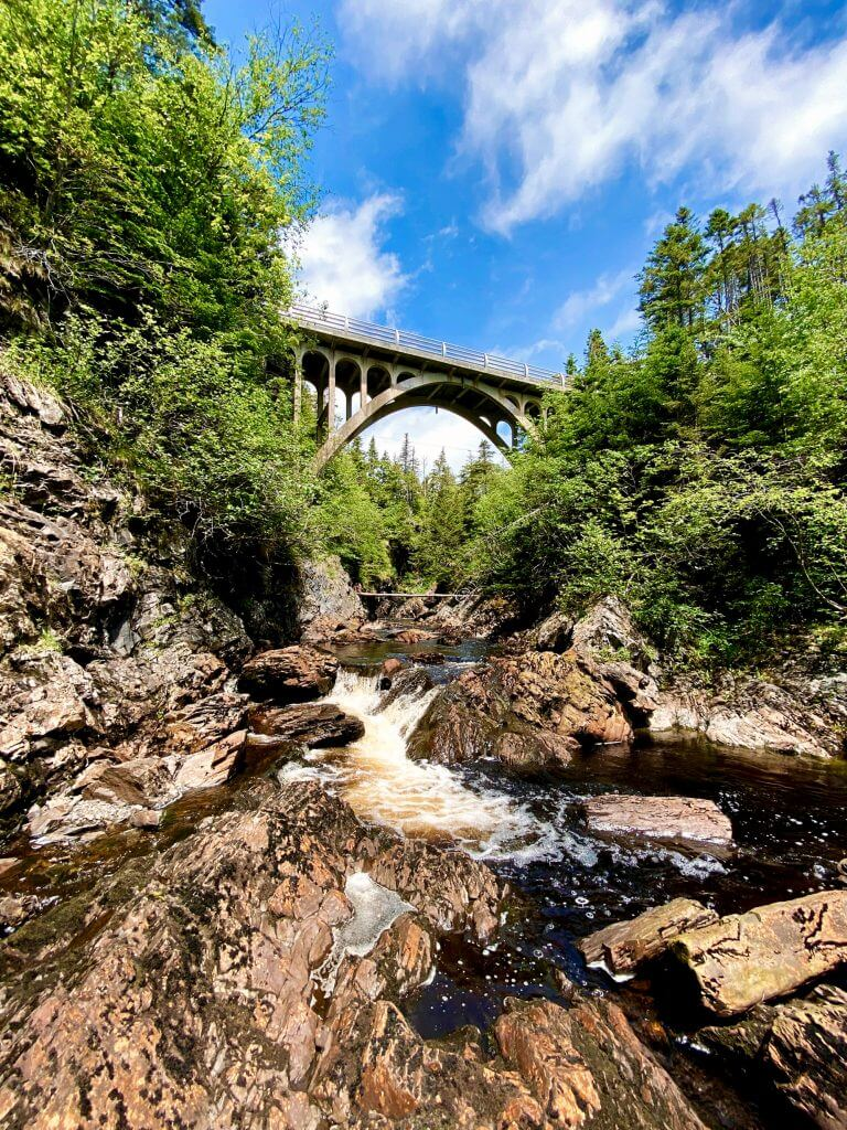 Bridge at Cataracts Provincial Park viewed from below